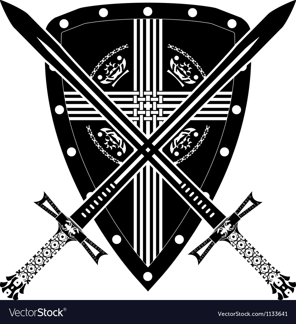 Medieval shield and swords vector