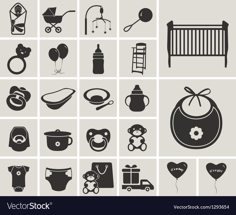 Baby blackwhite icons set vector
