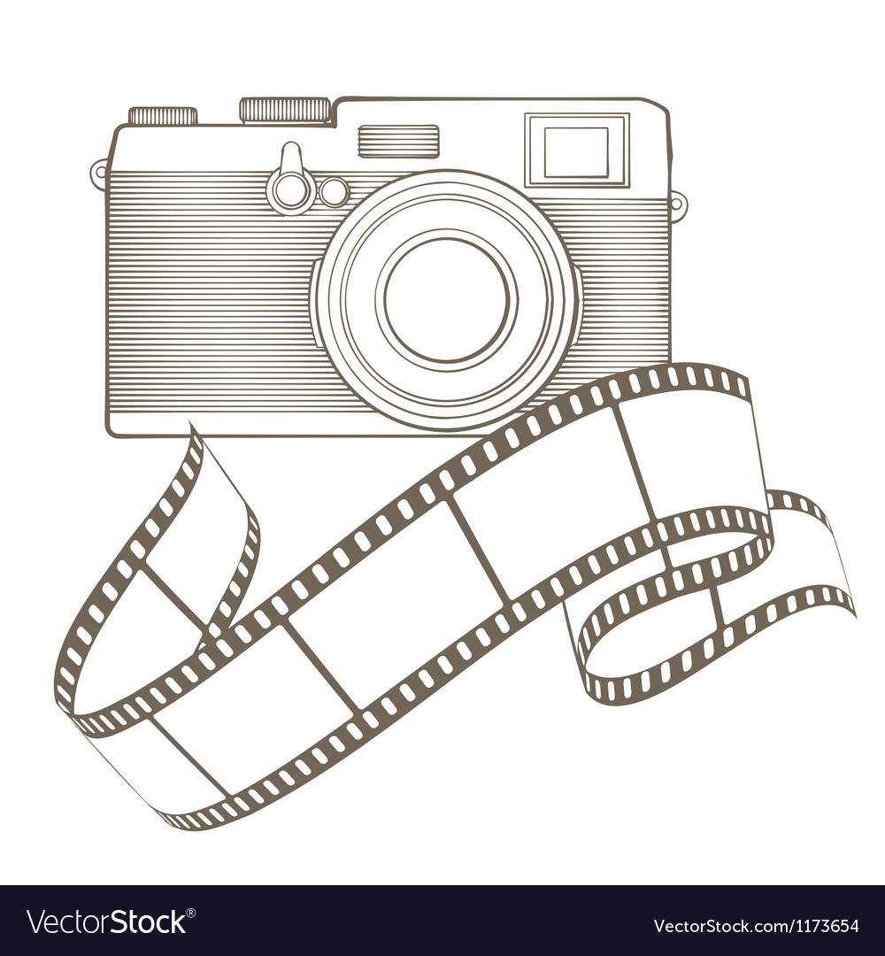 Retro photo camera with vignette vector