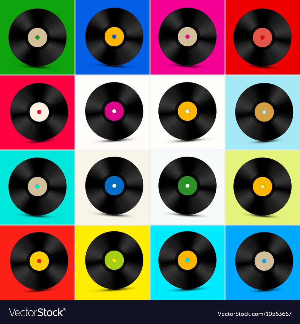 Global Views Lp: Vinyl Set Retro Colorful Lp Disc Vinyl Record Vector By