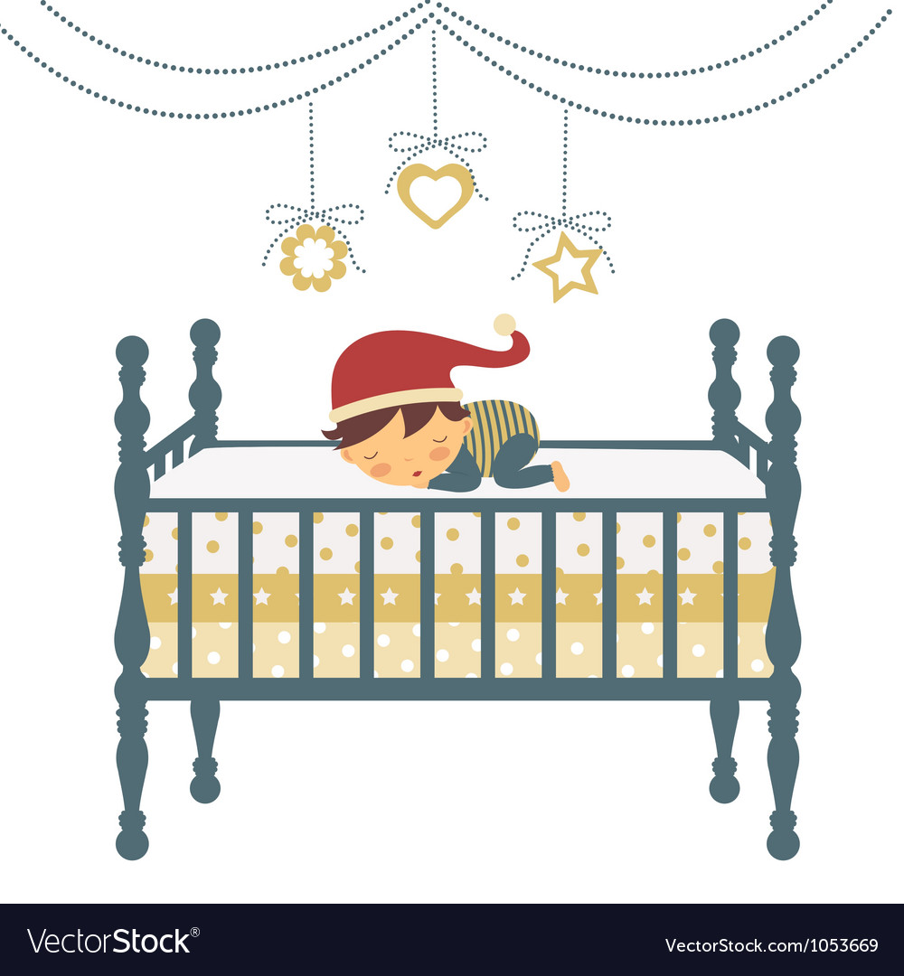 Baby sleeping in santa hat vector