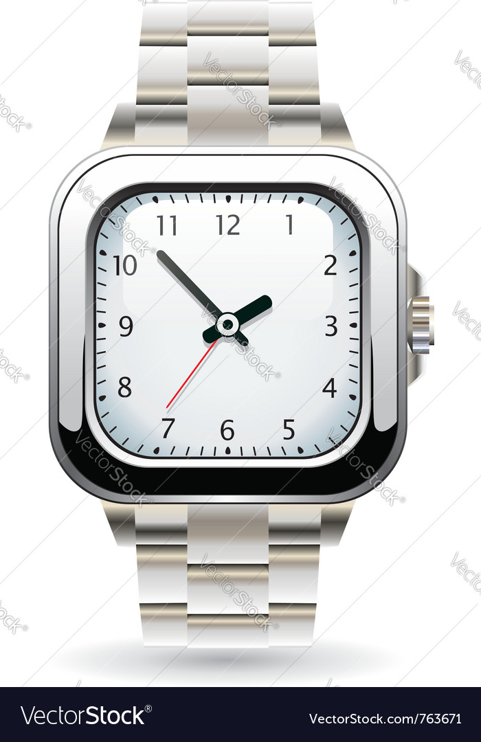 Silver wristwatch vector