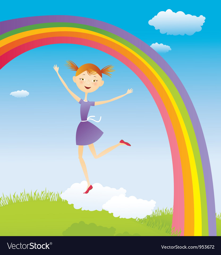 Girl on cloud and a rainbow vector