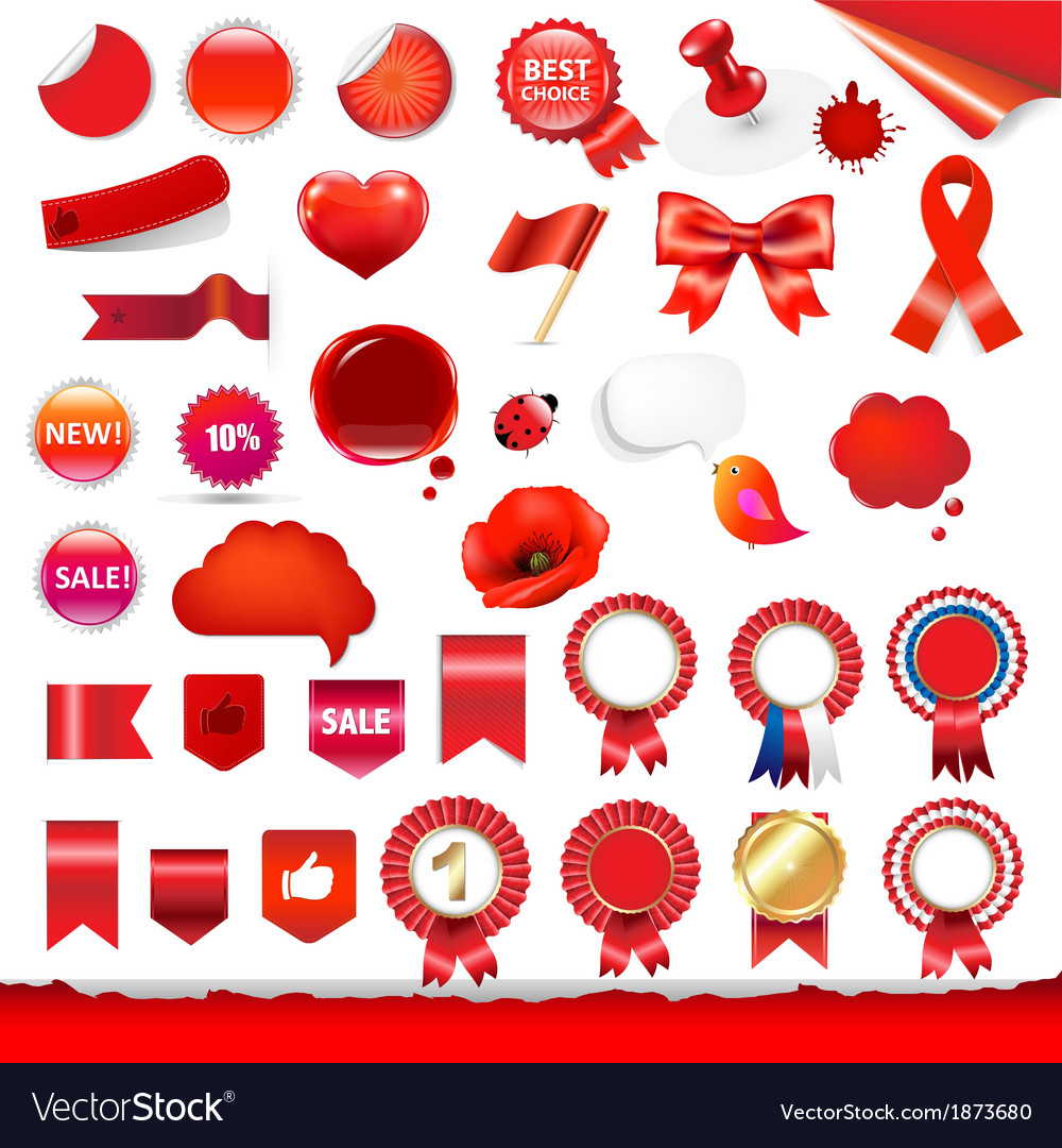 Big red labels and ribbons set vector