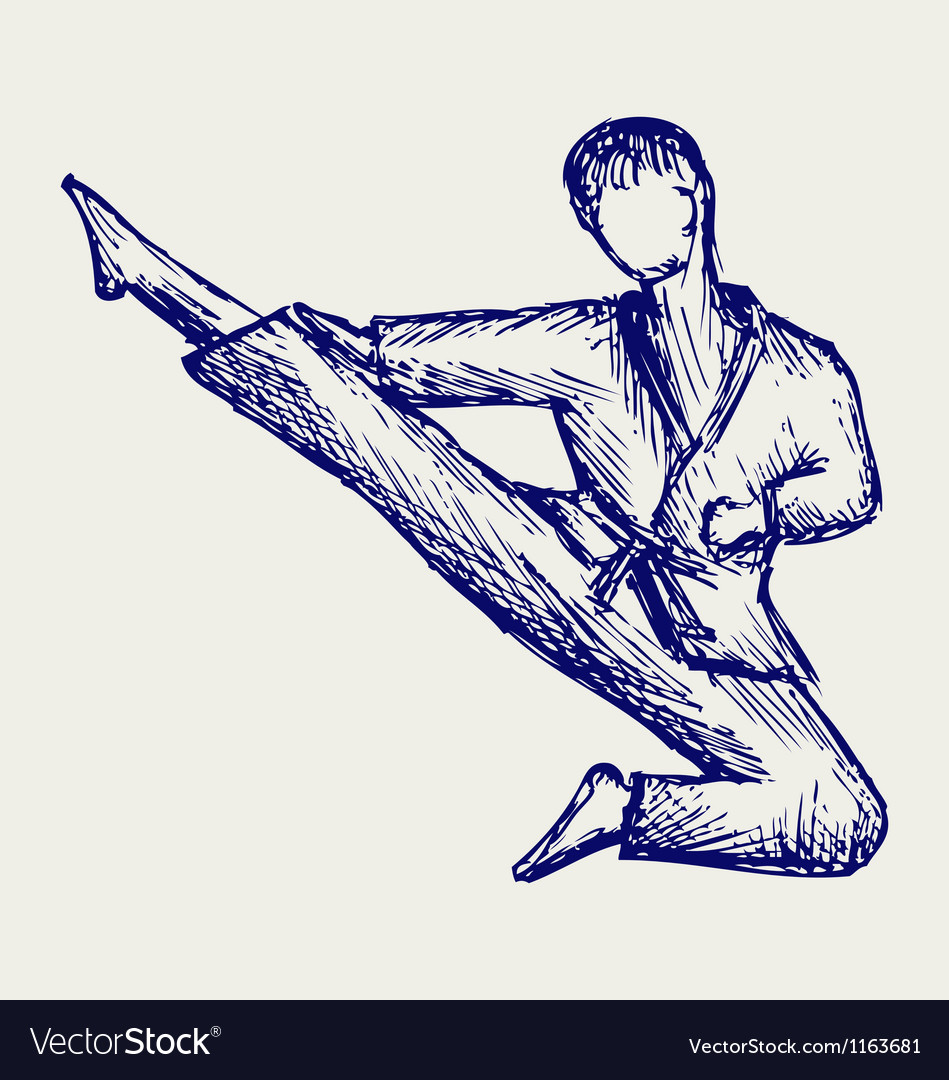 Karate male fighter young vector