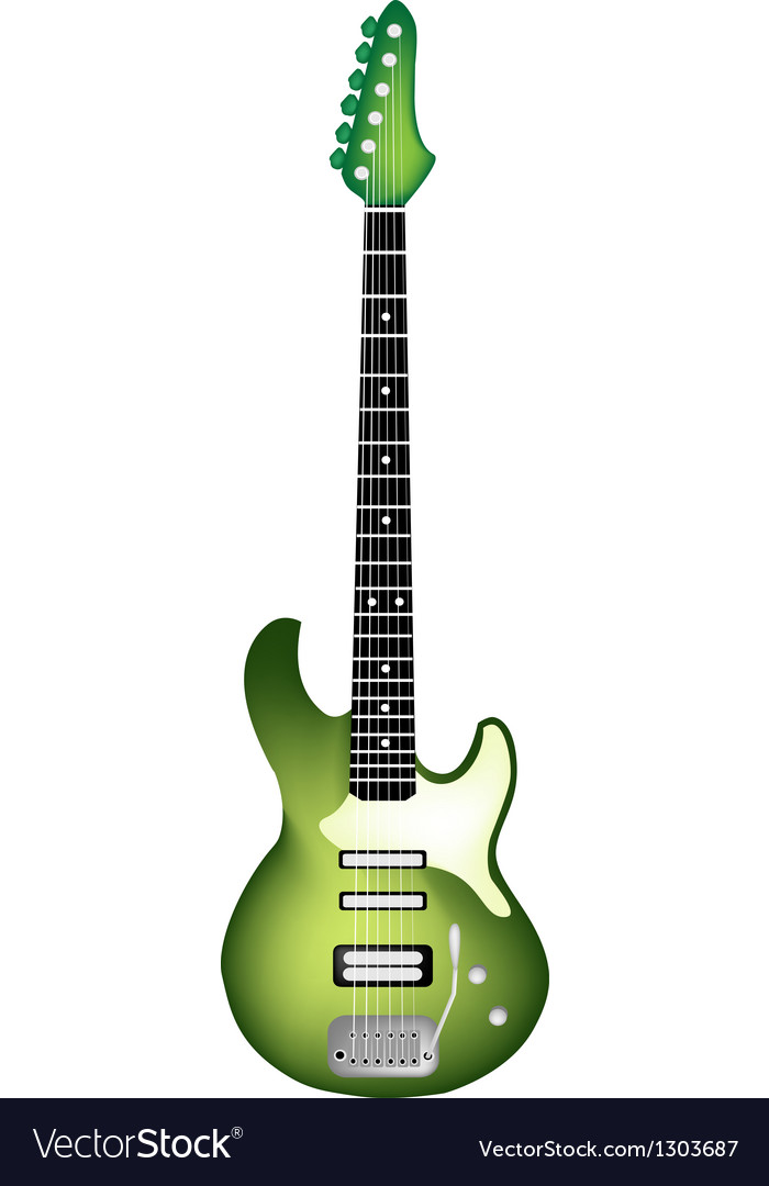 Green electric guitar on white background vector