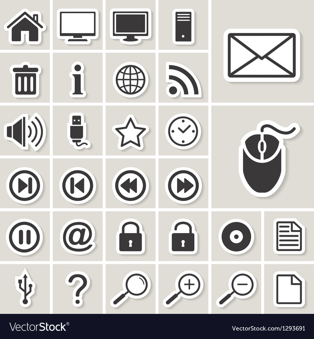 Cmputer and internet web icons set vector