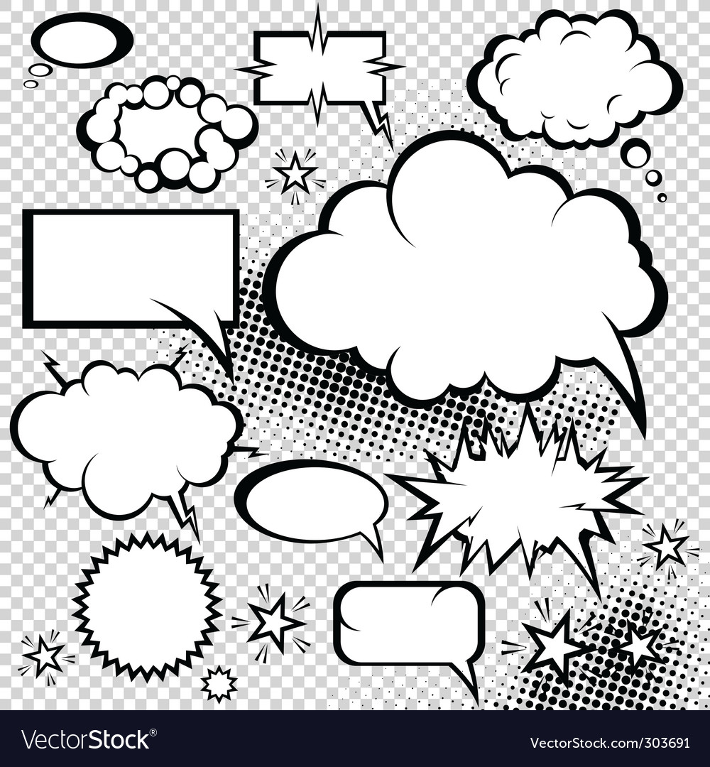 Comic bubbles collection vector