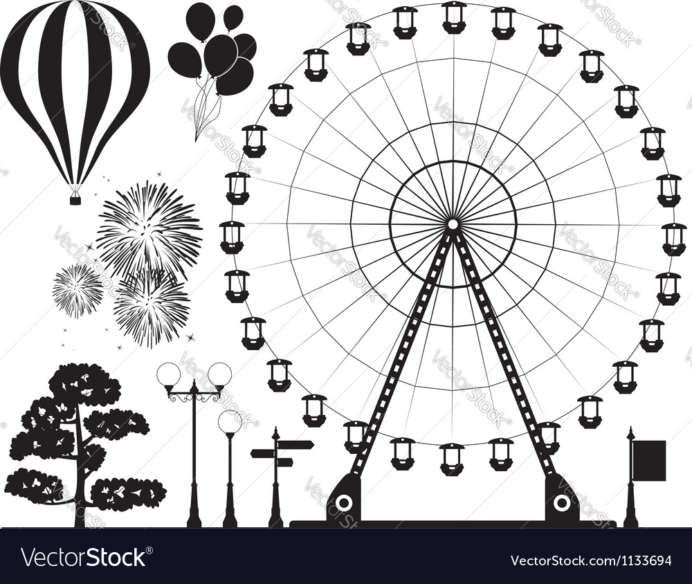 Elements of amusement park vector