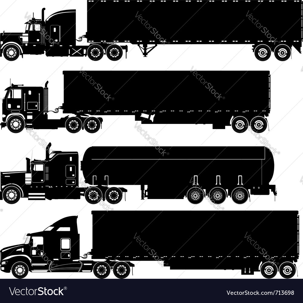 Detailed trucks silhouettes set vector