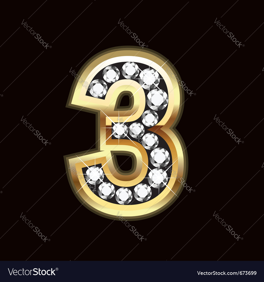 Number three bling gold and diamonds vector
