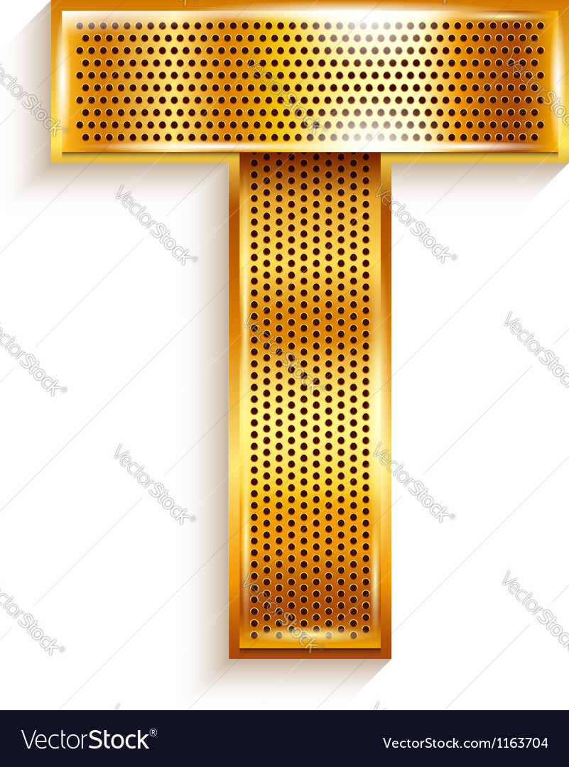 Letter metal gold ribbon  t vector