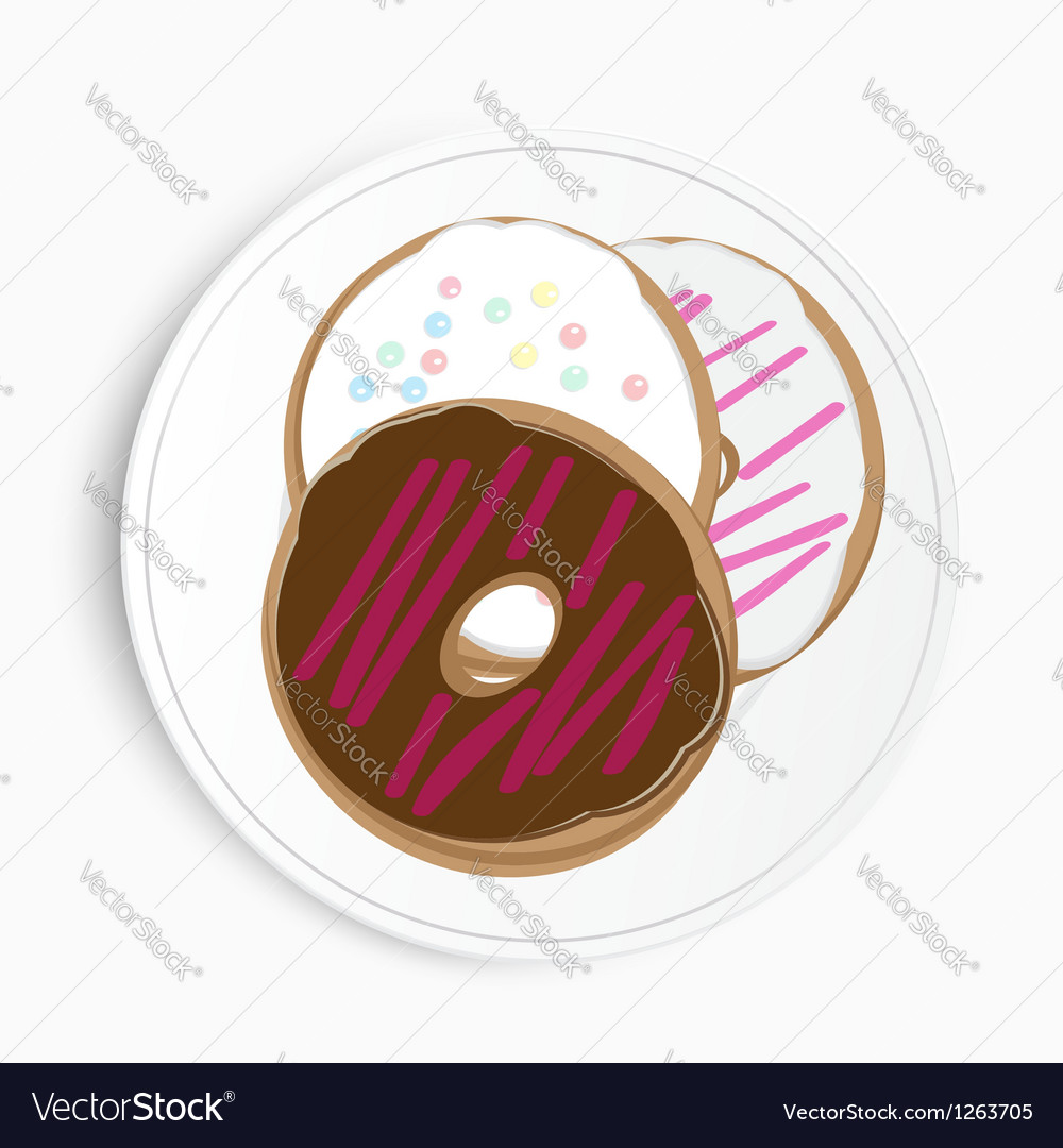 Serving of delicious doughnuts vector
