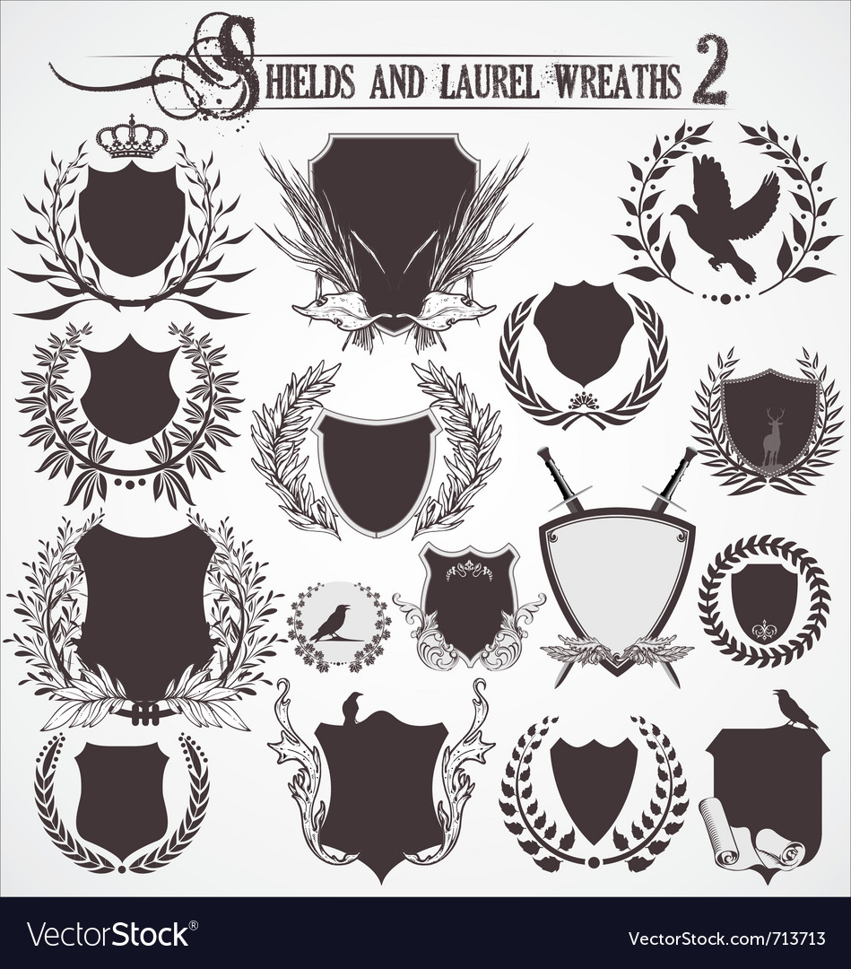 Shields and laurel wreaths  set 2 vector