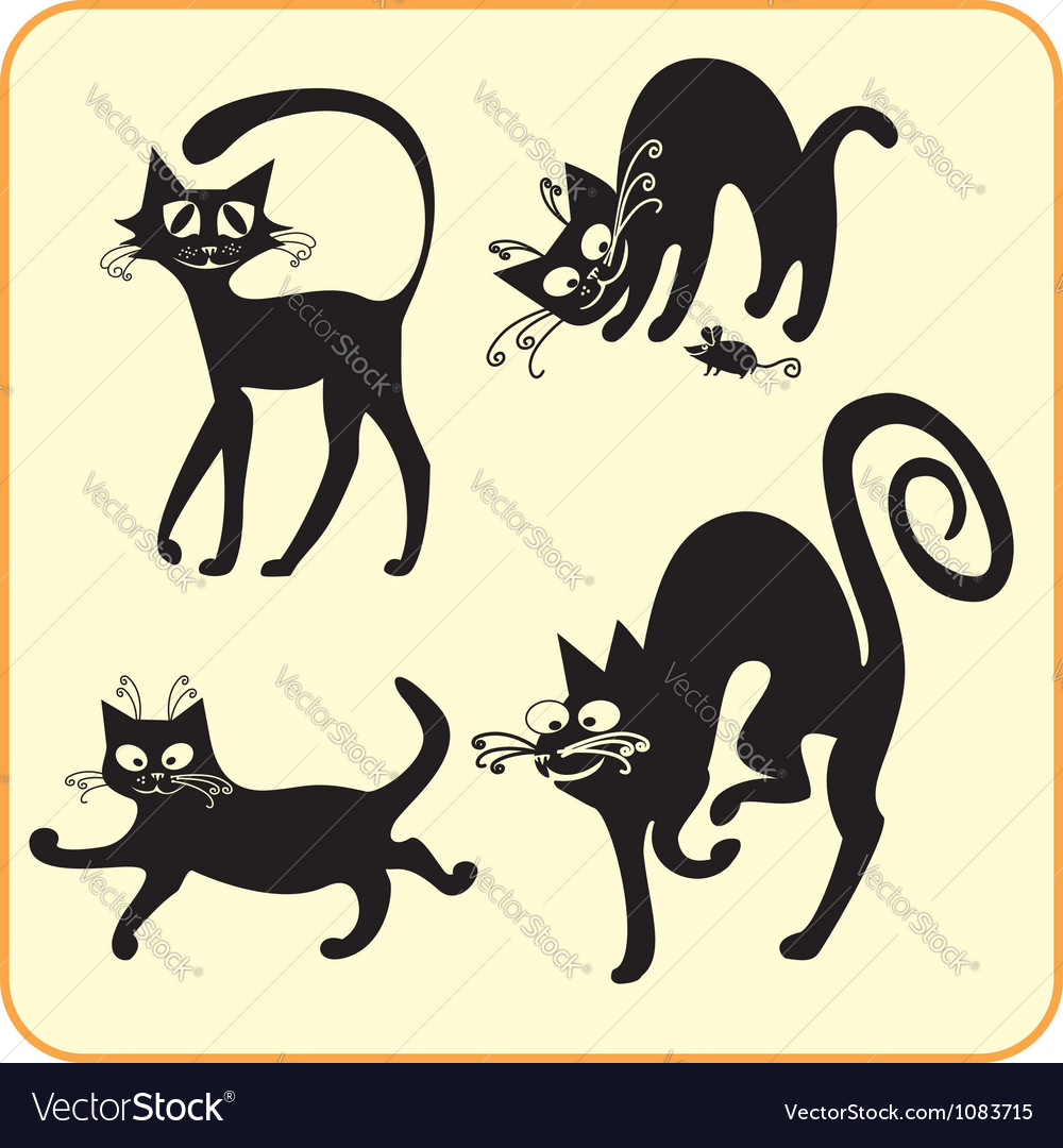 Black cats  set vinylready eps vector