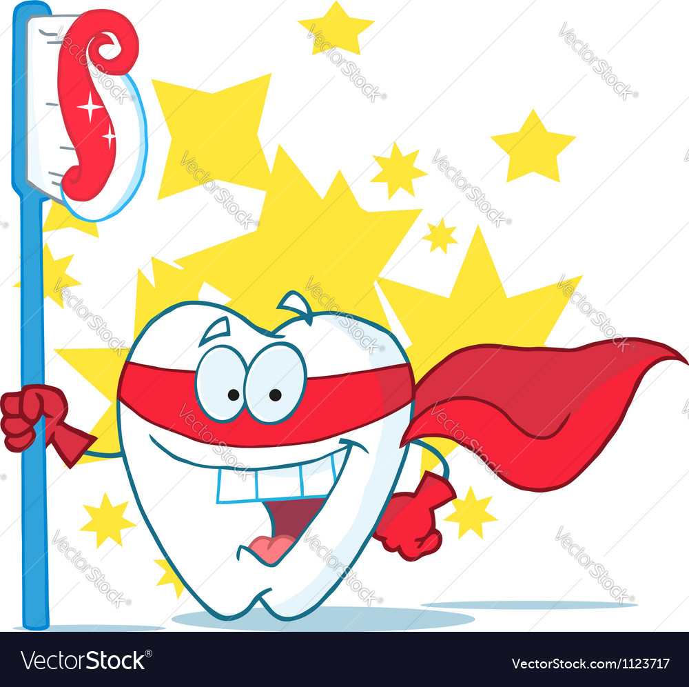 Smiling superhero tooth with toothbrush vector