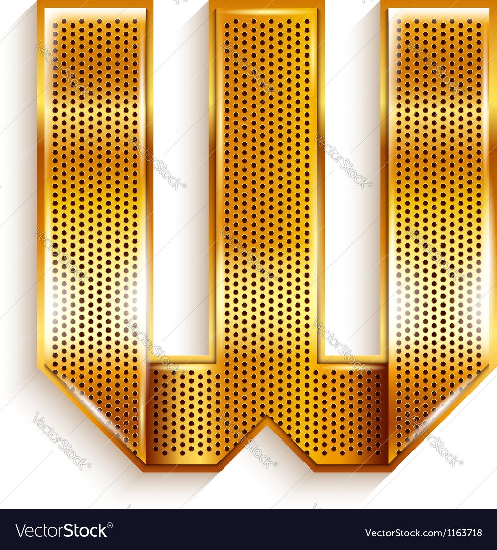 Letter metal gold ribbon  w vector