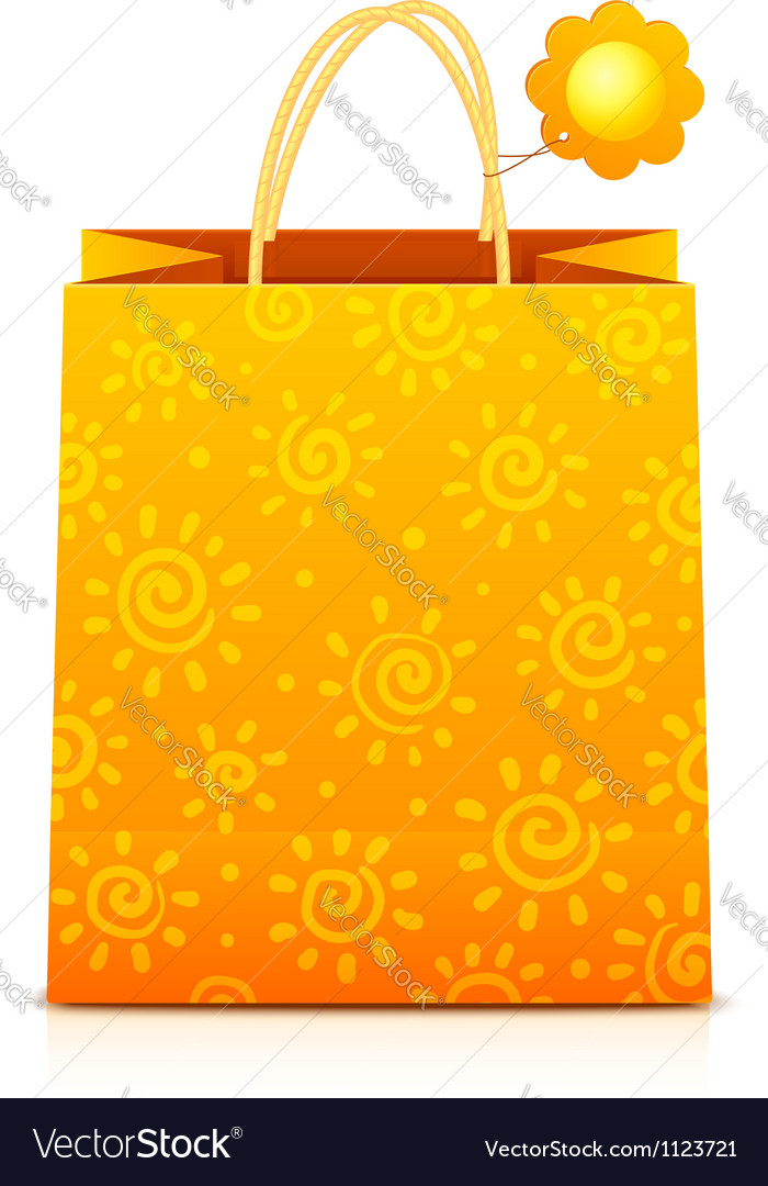 Orange paper shopping bag with sunny pattern vector