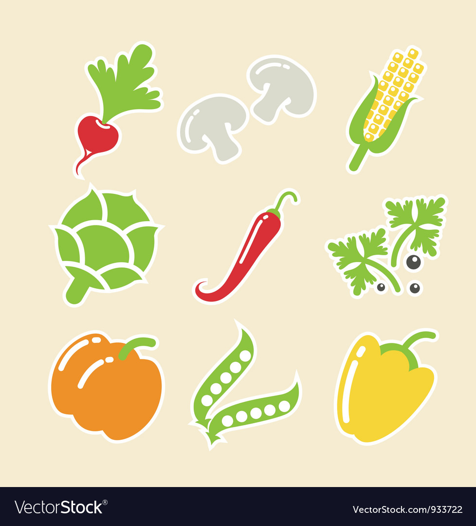 Vegetables set of icons vector