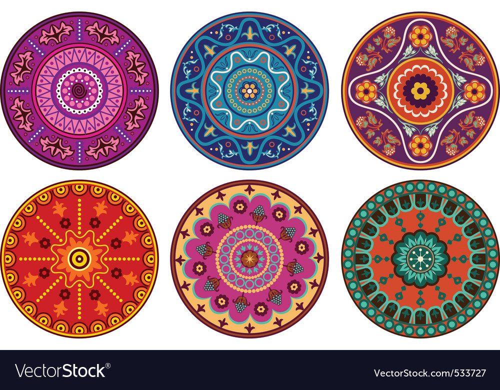 Indian color ornament vector