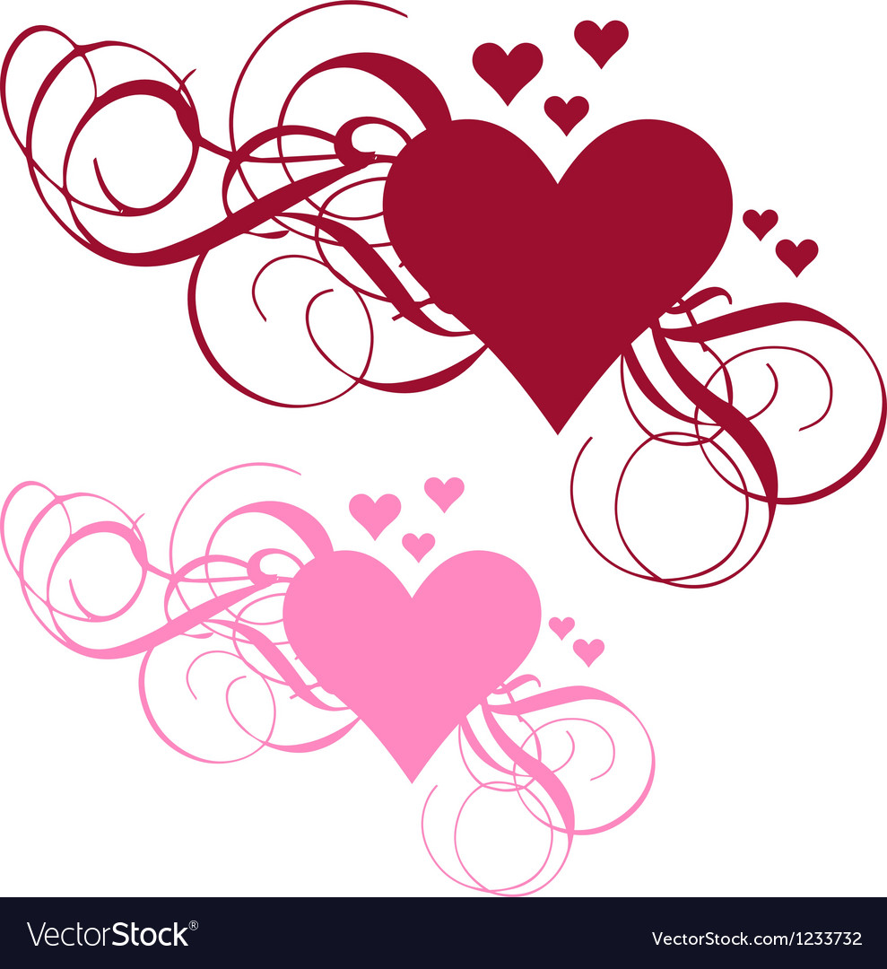 Heart with ornamental swirls vector