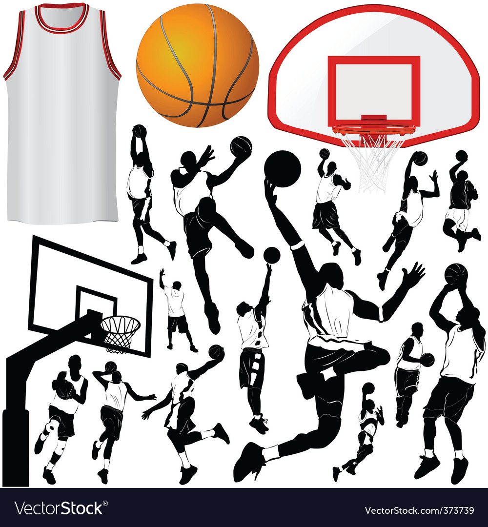 Basketball and equipments vector