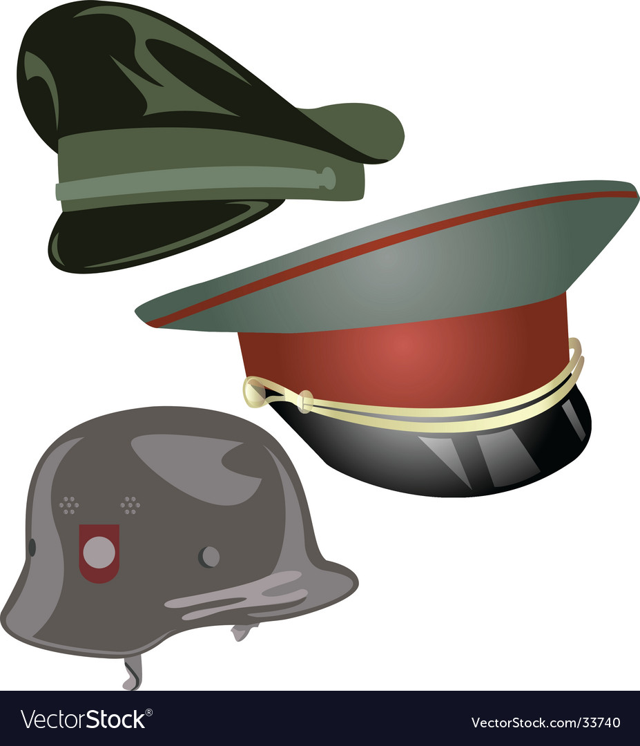 Military hats and helmet vector