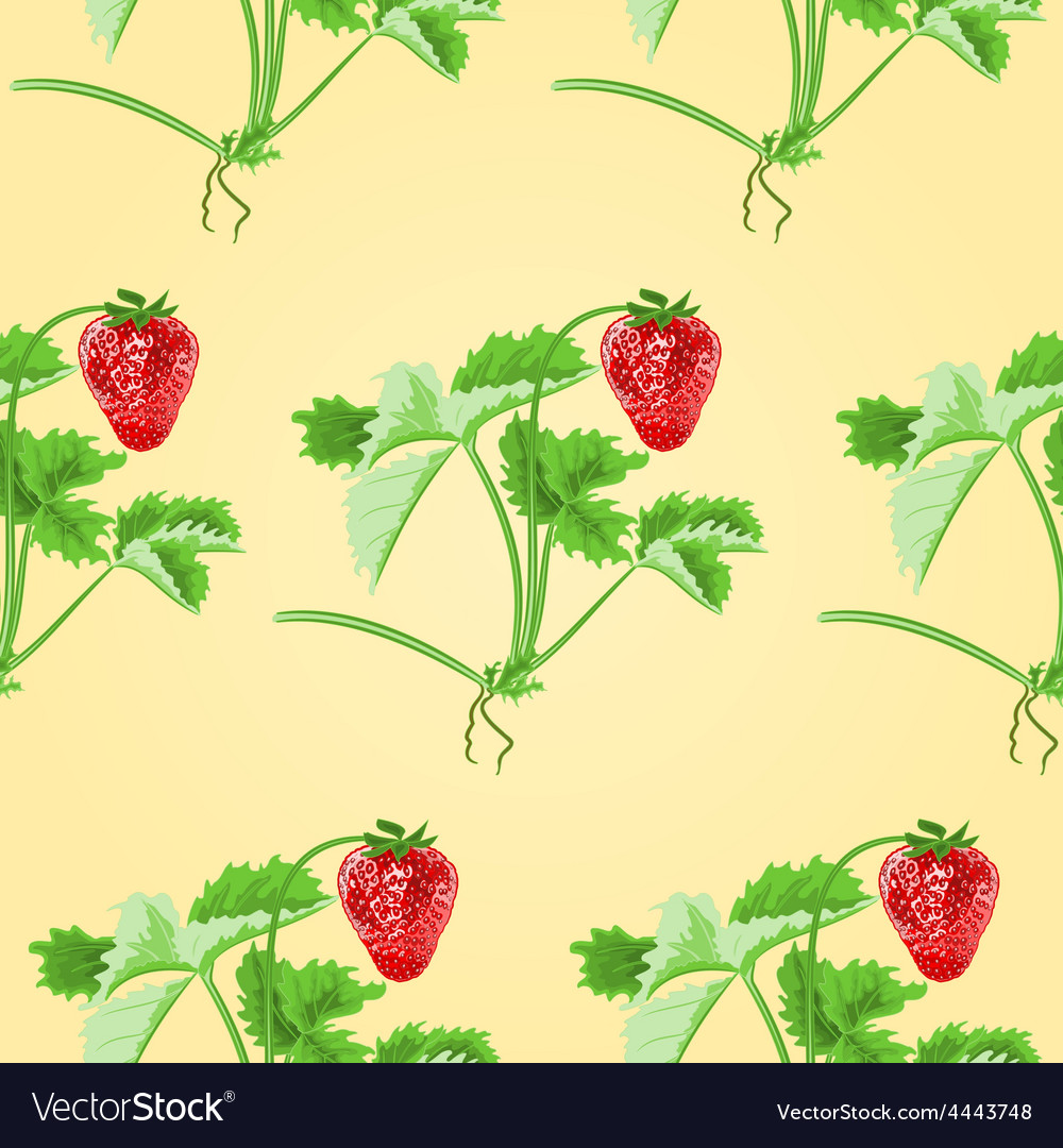 Seamless texture of strawberries with leaves