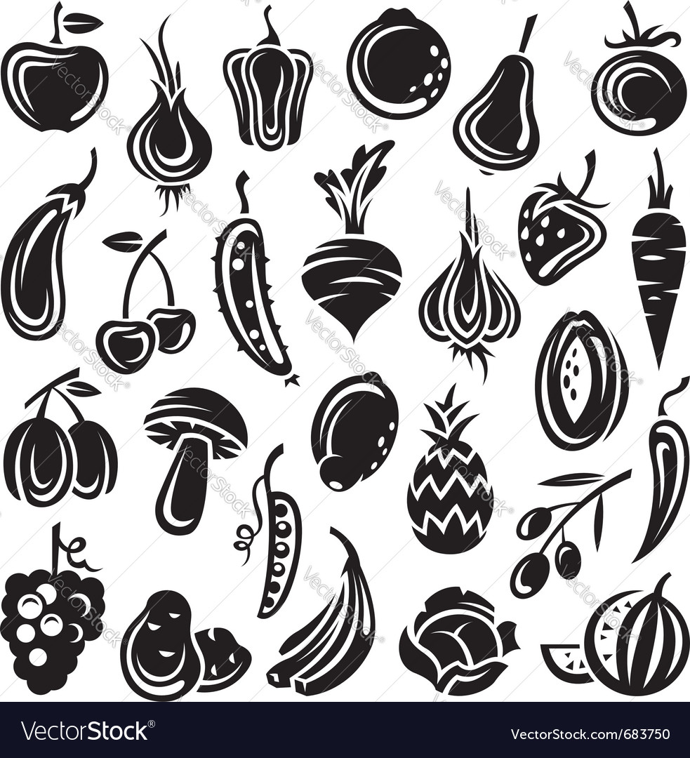 Fruits and vegetables vector