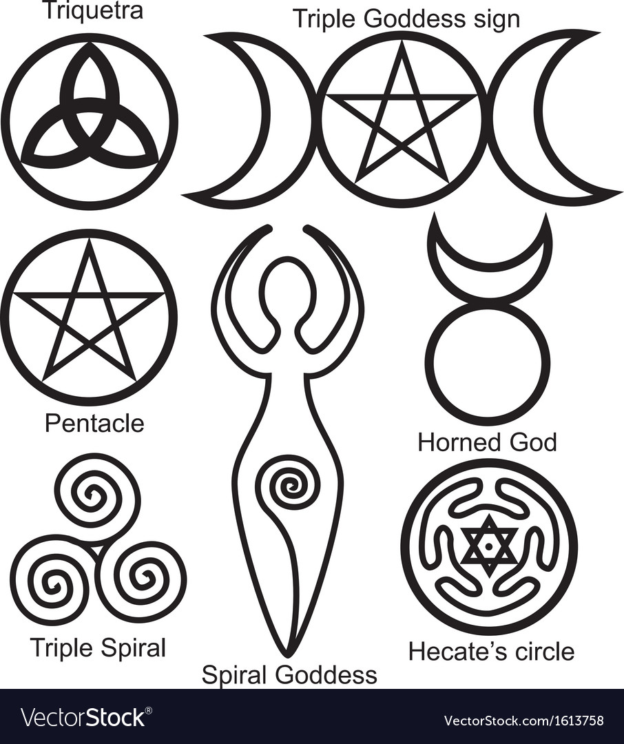 Wiccan symbols set vector