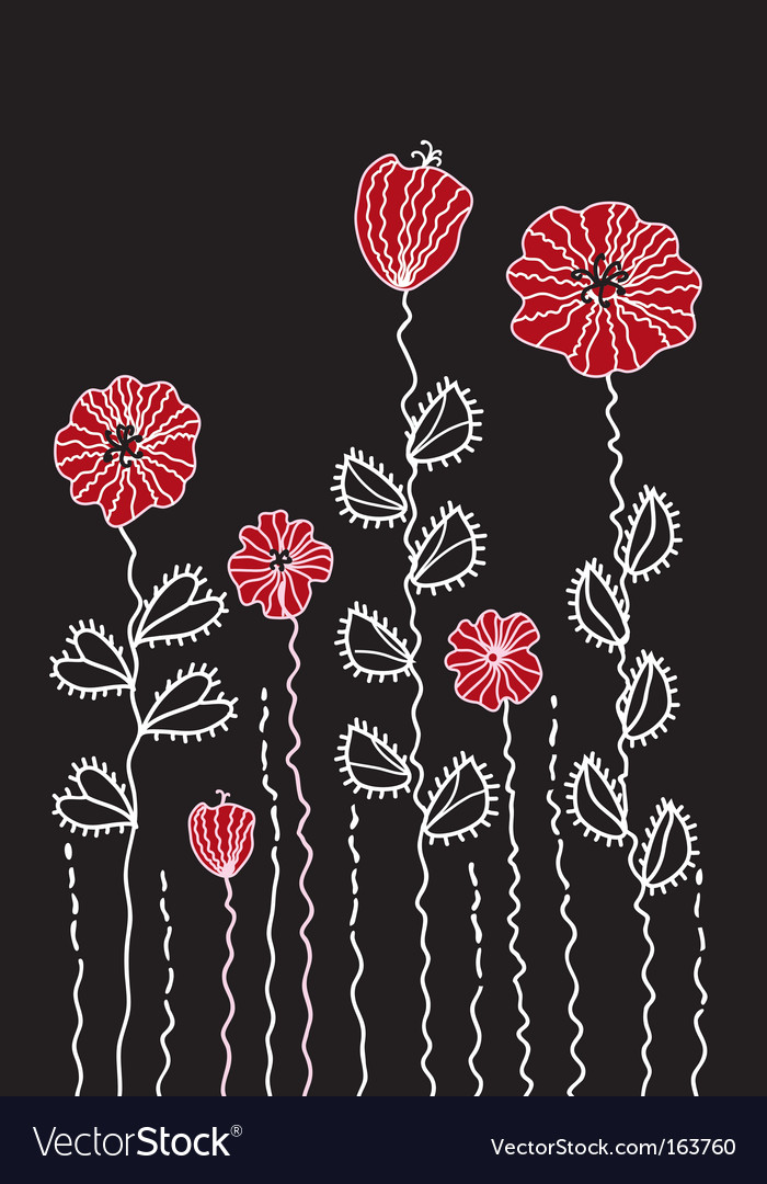 Graphic decoration poppy border vector