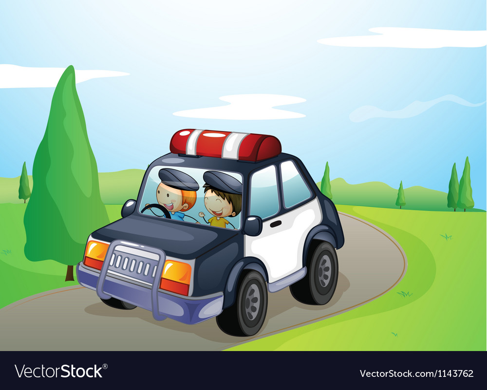 A car and smiling kids vector