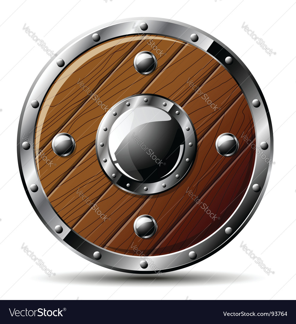 Wooden shield vector