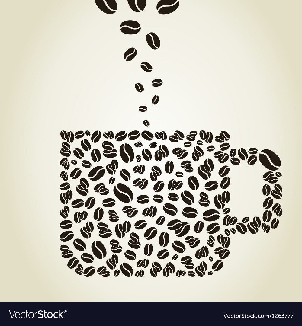 Cup from coffee grains vector