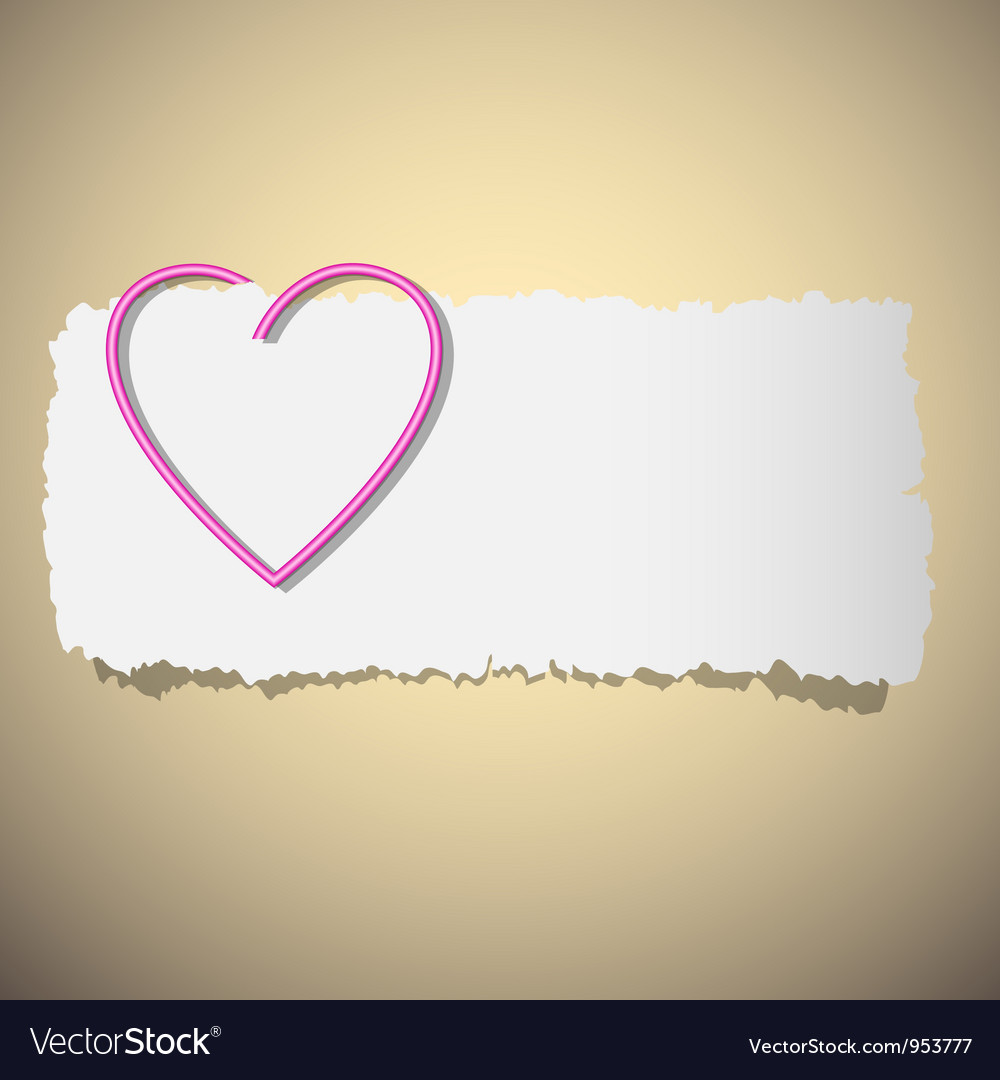 Heart shaped paper clip vector