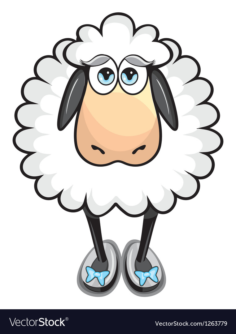 Cute white sheep vector