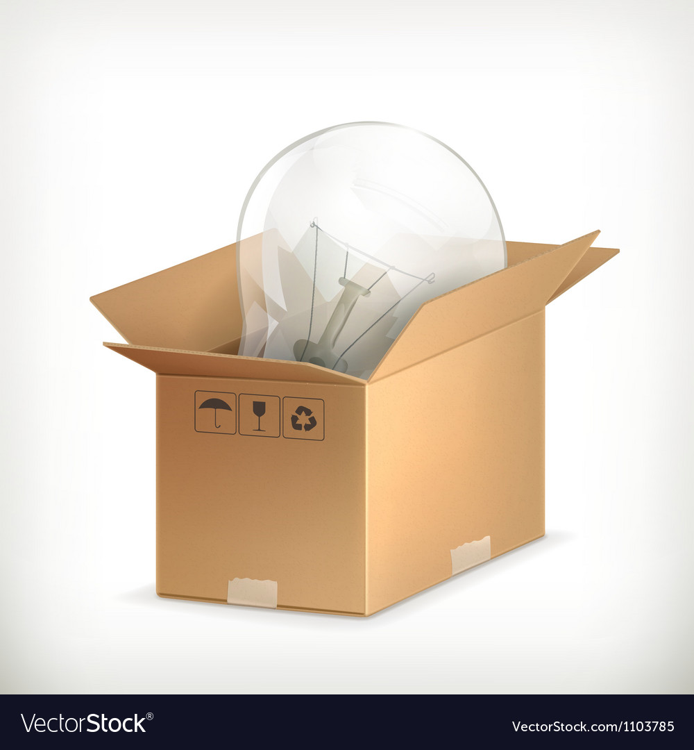 Light bulb in box vector