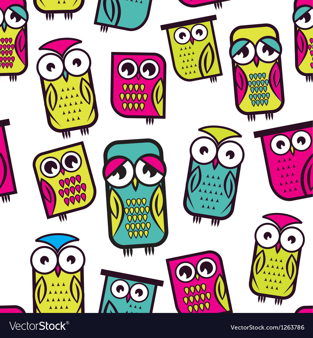 Seamless owl pattern vector