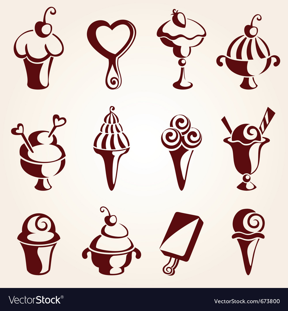 Set of ice cream dessert vector