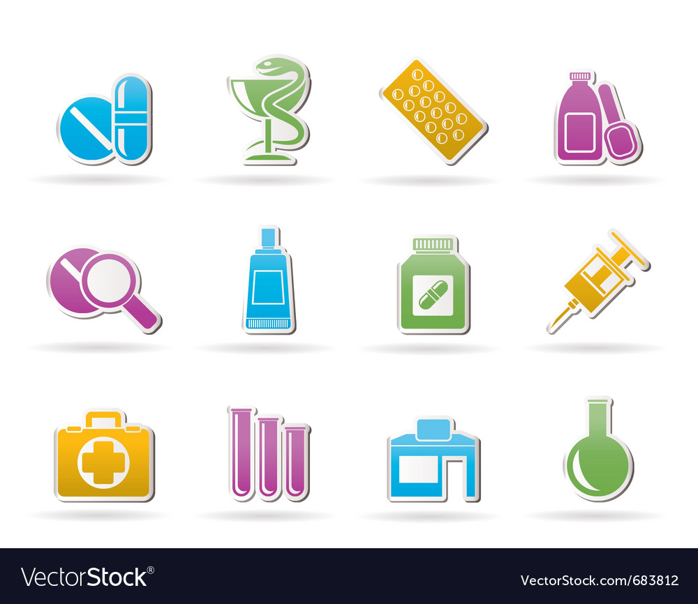 Pharmacy and medical icons vector