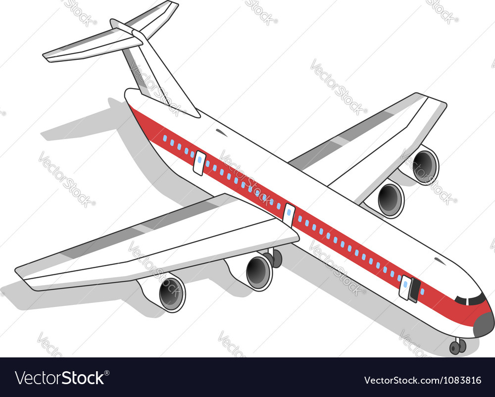Isometric white airplane with red stripe vector