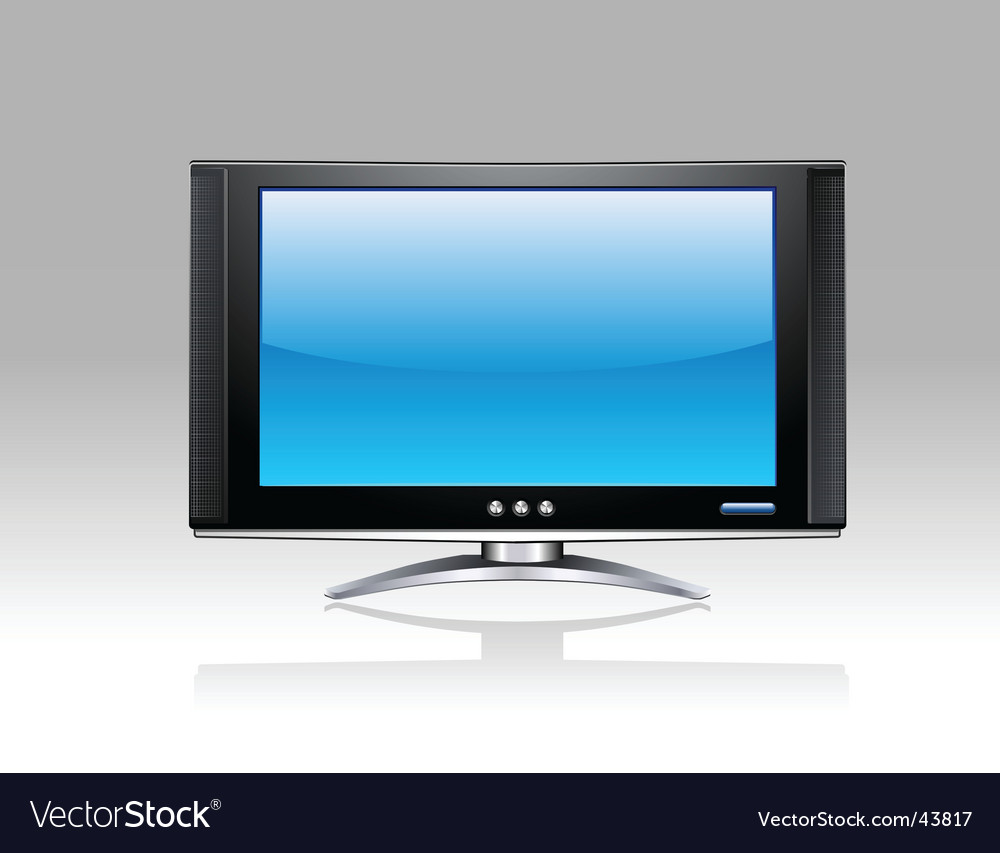 Flat plasma lcd tv set vector