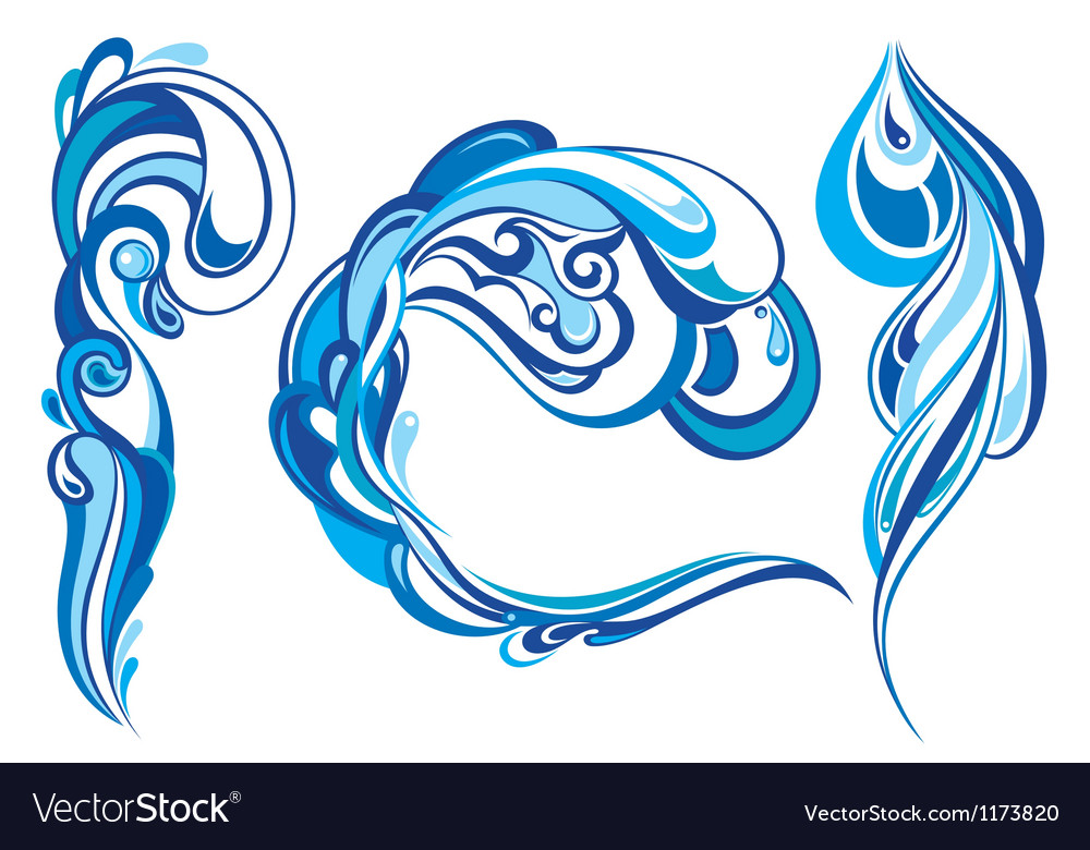 Blue water splashes vector