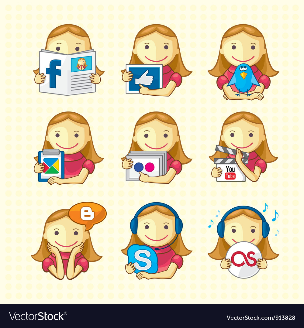Social educational icons vector