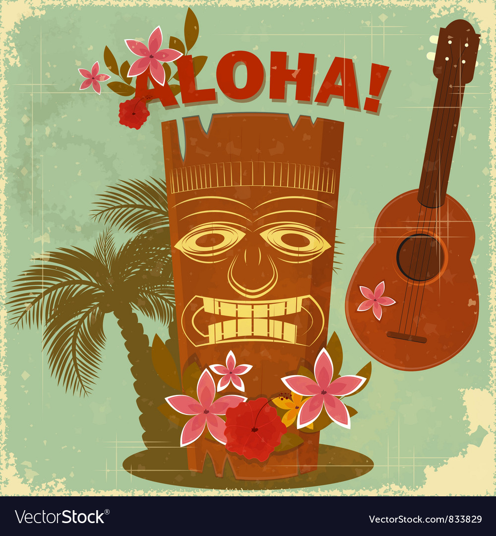 Vintage hawaiian postcard vector