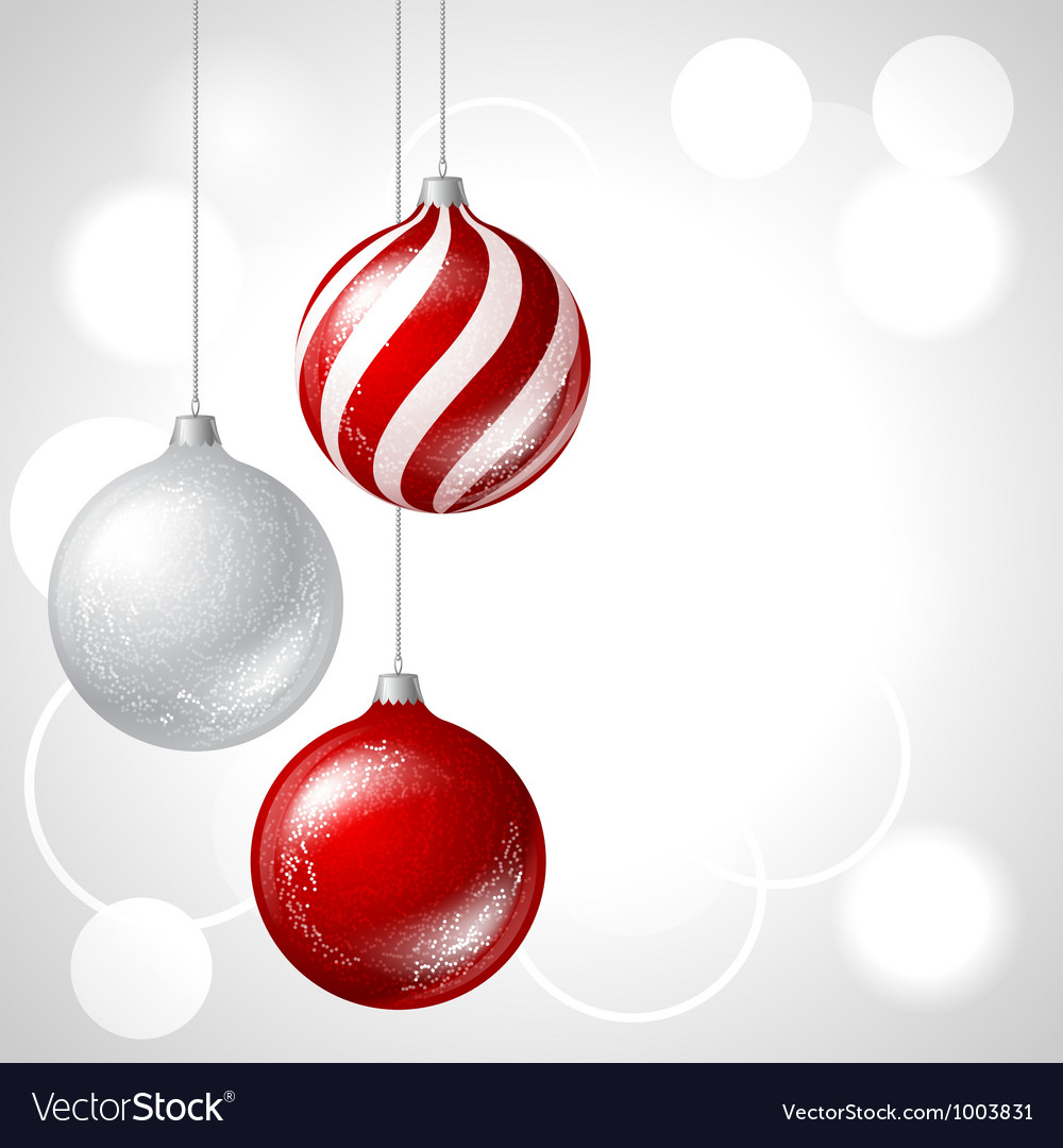 Merry christmas background with glossy balls vector