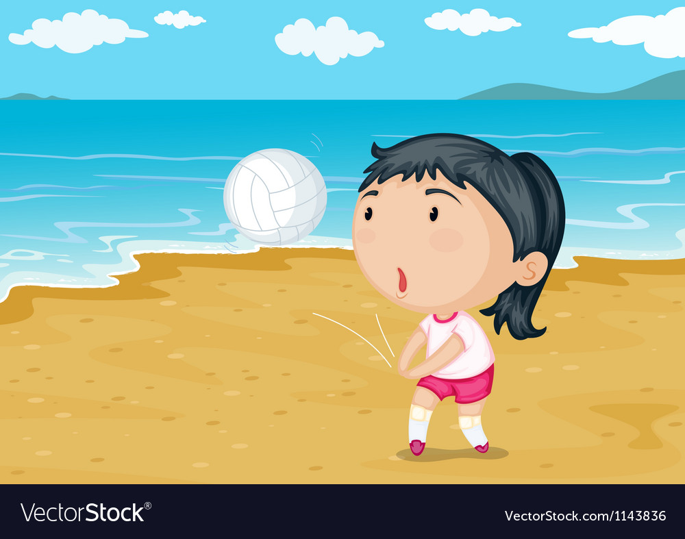 A girl playing ball on a beach vector