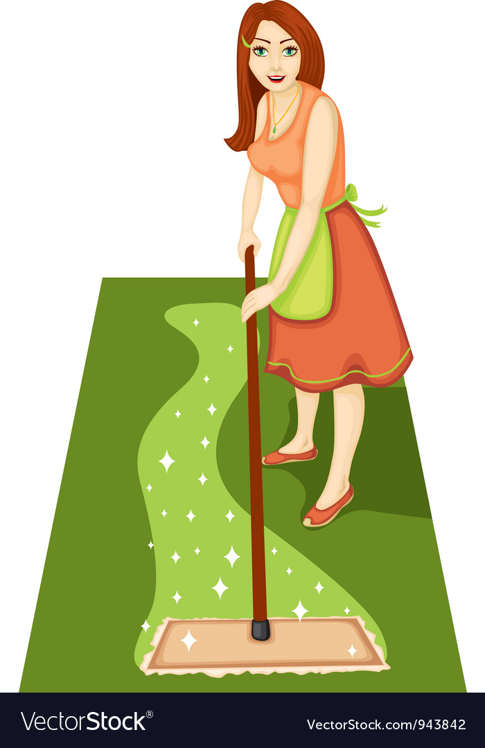Housewife with a mop vector
