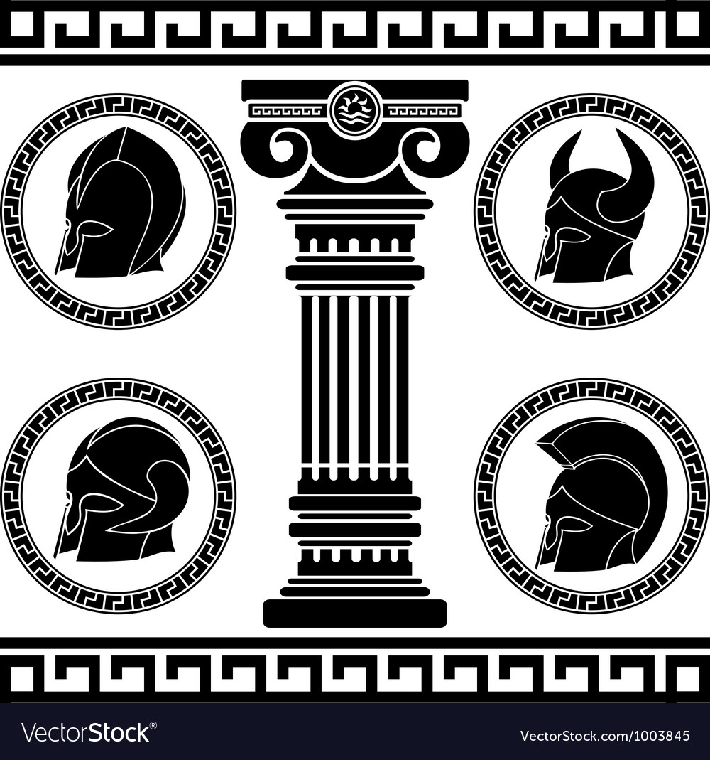 Ancient helmets stencil vector