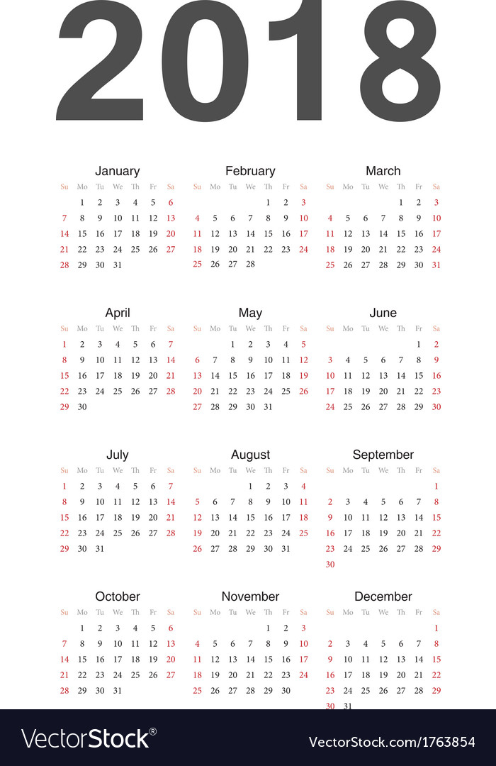 European 2018 year calendar vector by julvil - Image #1763854 ...